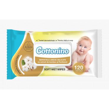 Mitrās salvetes ar panthenolu, 120 gab., jūtīgai ādai, Cottonino