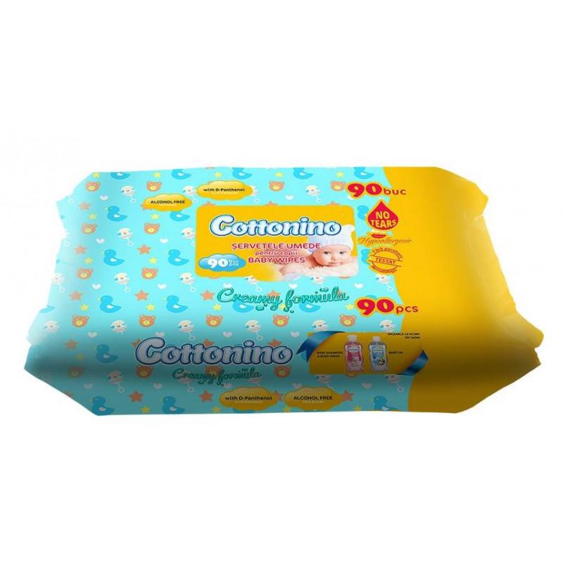 Mitrās salvetes jūtīgai ādai, 90 gab., Cottonino