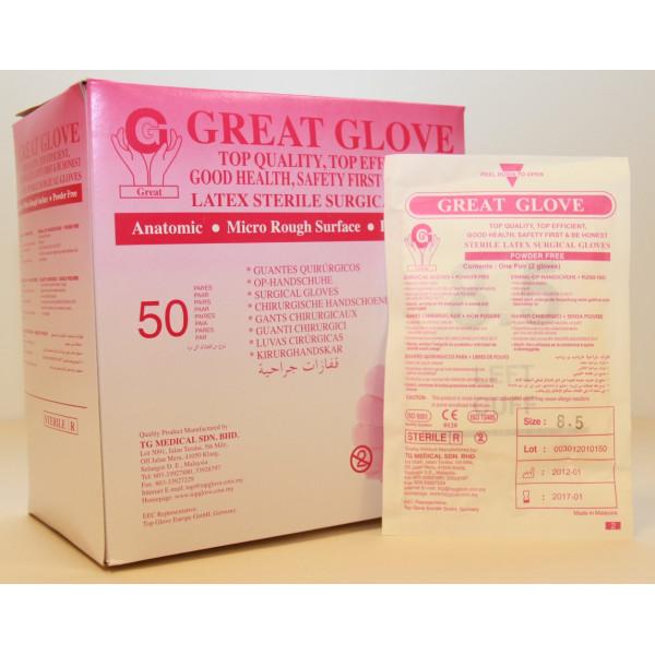 GG-S-PF- Cimdi ķirurģiski sterili, bez pūdera, GreatGlove