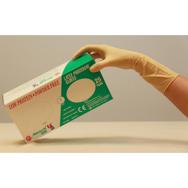 Cimdi lateksa pagarināti anatomiski piemēroti katrai rokai, bez pūdera, Handsafe
